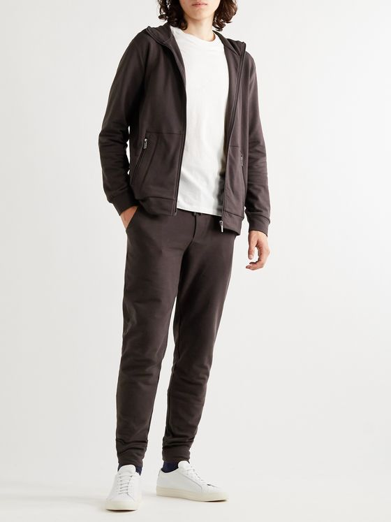 Zimmerli Tapered Fleece-Back Stretch-Cotton Sweatpants
