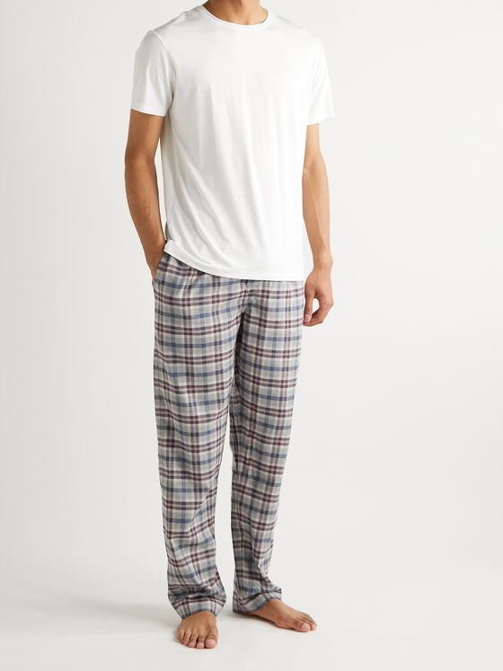 ZIMMERLI Heritage Checked Cotton and Wool-Blend Pyjama Trousers