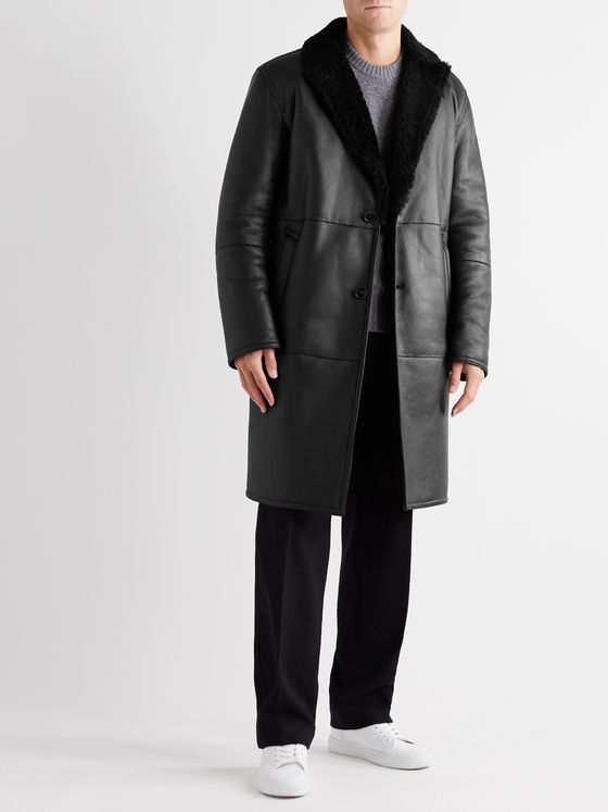 MR P. Shearling-Lined Leather Coat