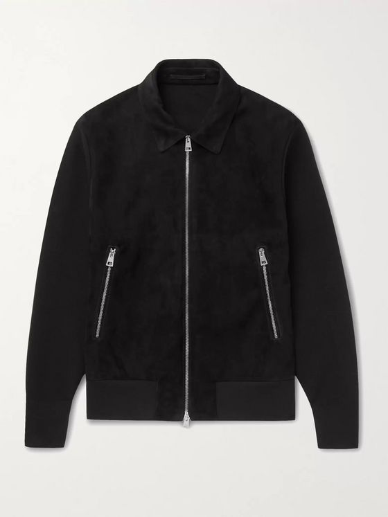 MR P. Panelled Suede and Knitted Blouson Jacket