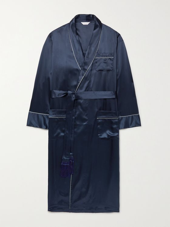 DEREK ROSE Bailey Piped Silk Robe