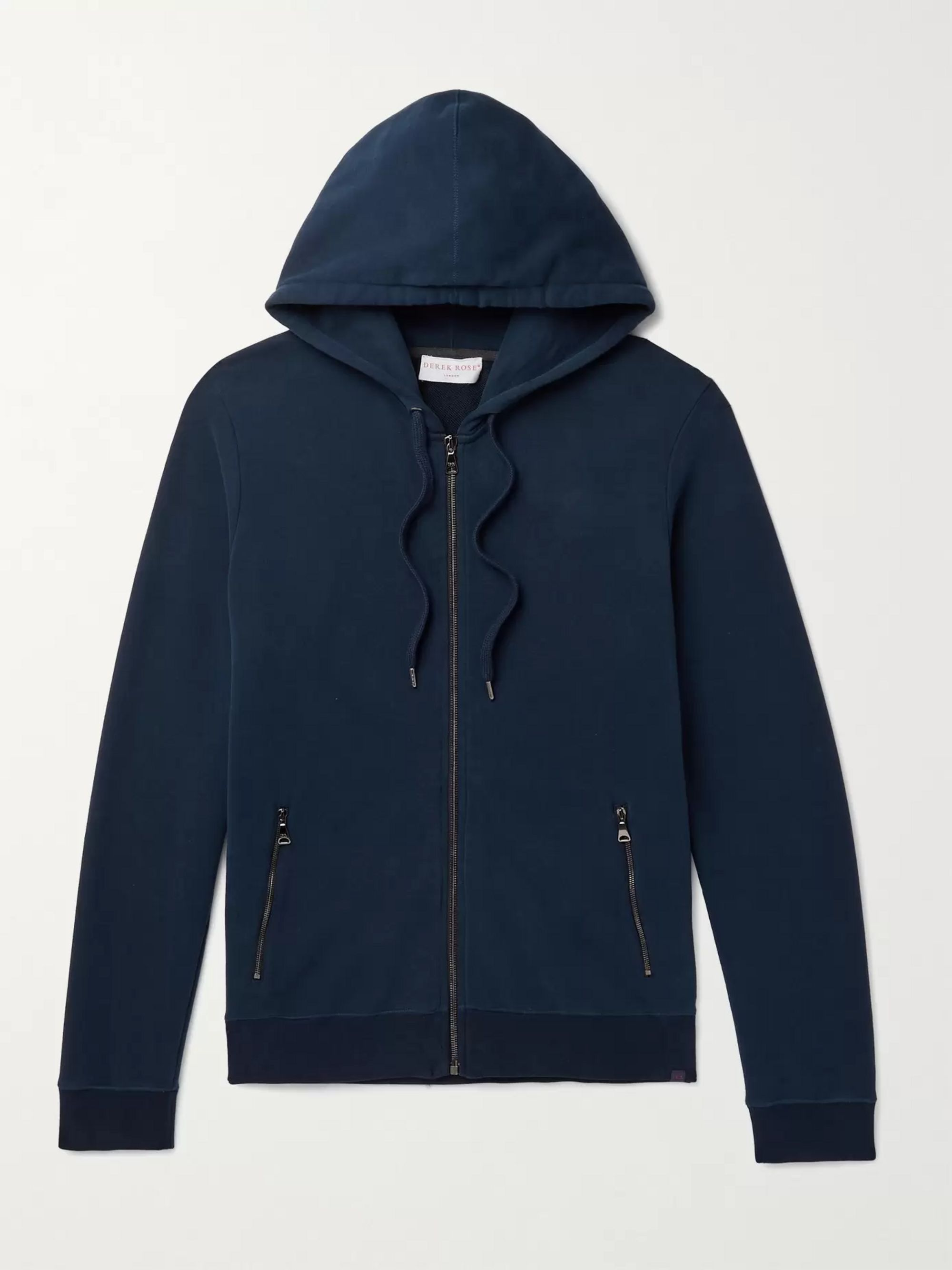 DEREK ROSE Devon Brushed Loopback Cotton-Jersey Zip-Up Hoodie
