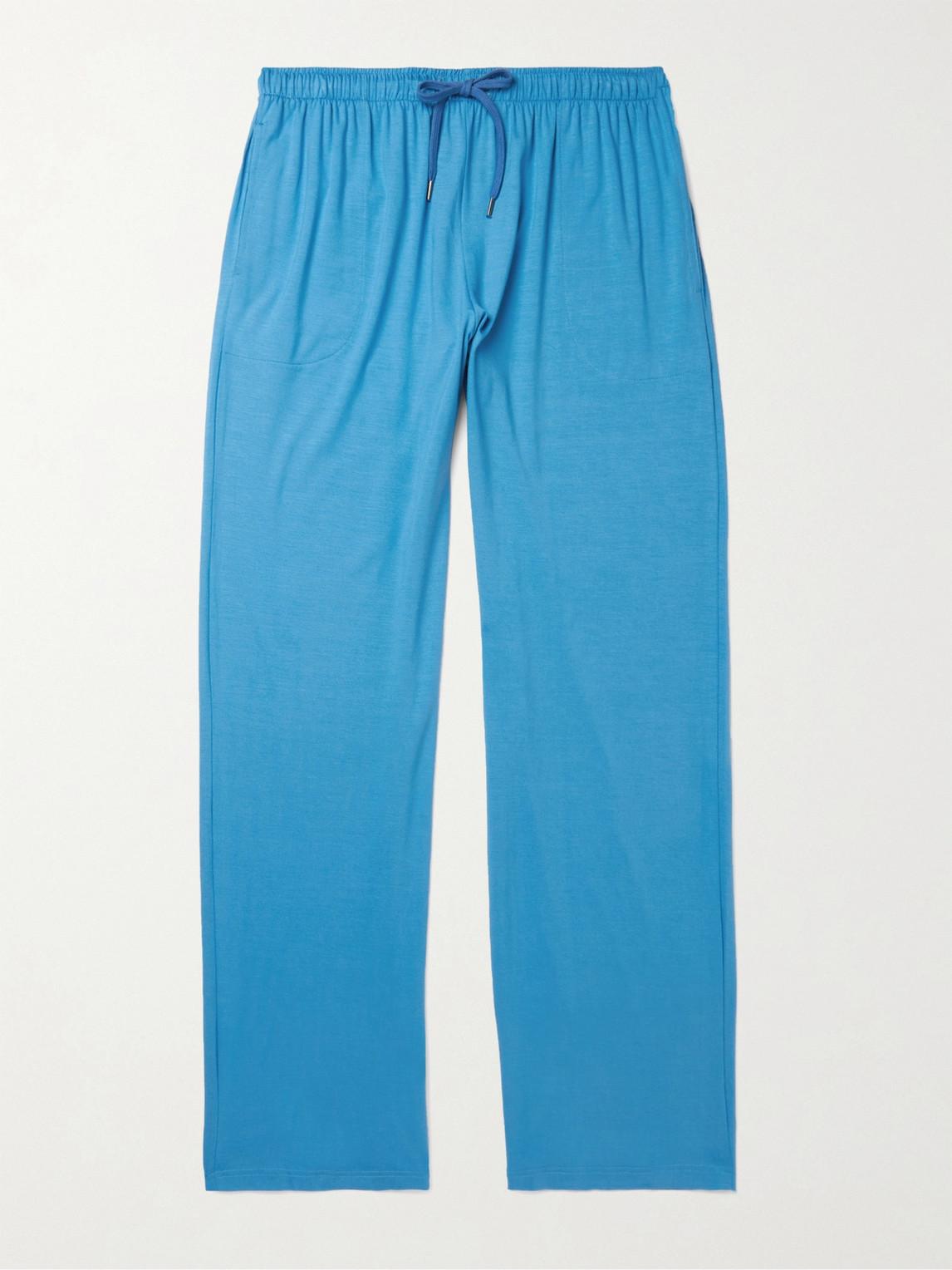 Derek Rose Stretch Micro Modal Jersey Lounge Trousers In Blue