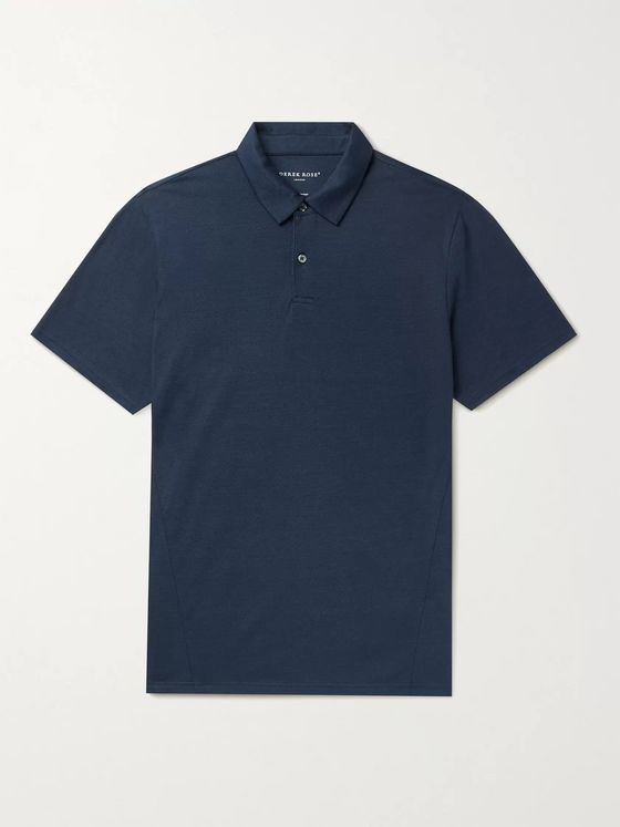 DEREK ROSE Ramsay 2 Stretch Cotton and TENCEL-Blend Piqué Polo Shirt