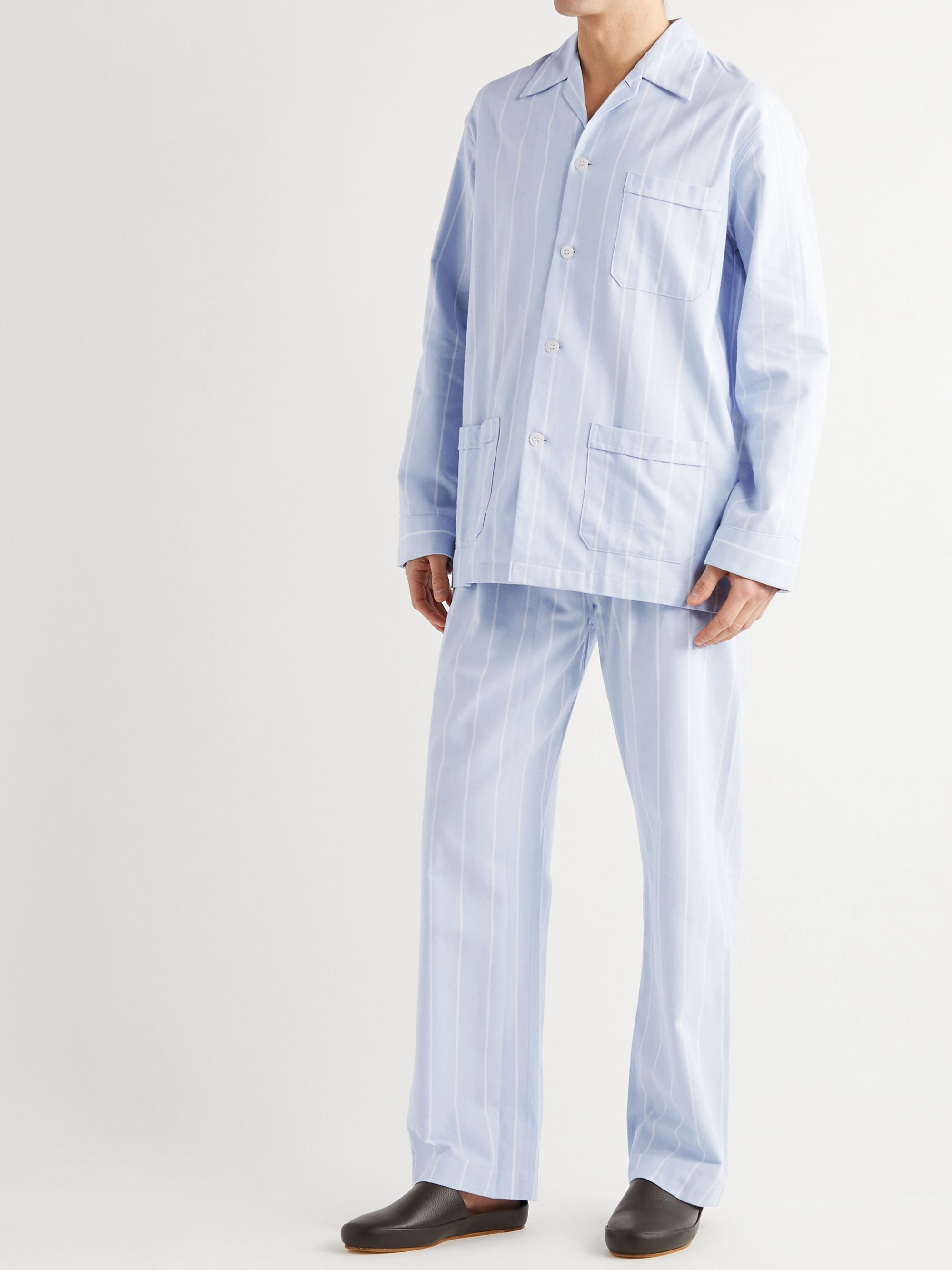 DEREK ROSE Striped Brushed Cotton-Twill Pyjama Set