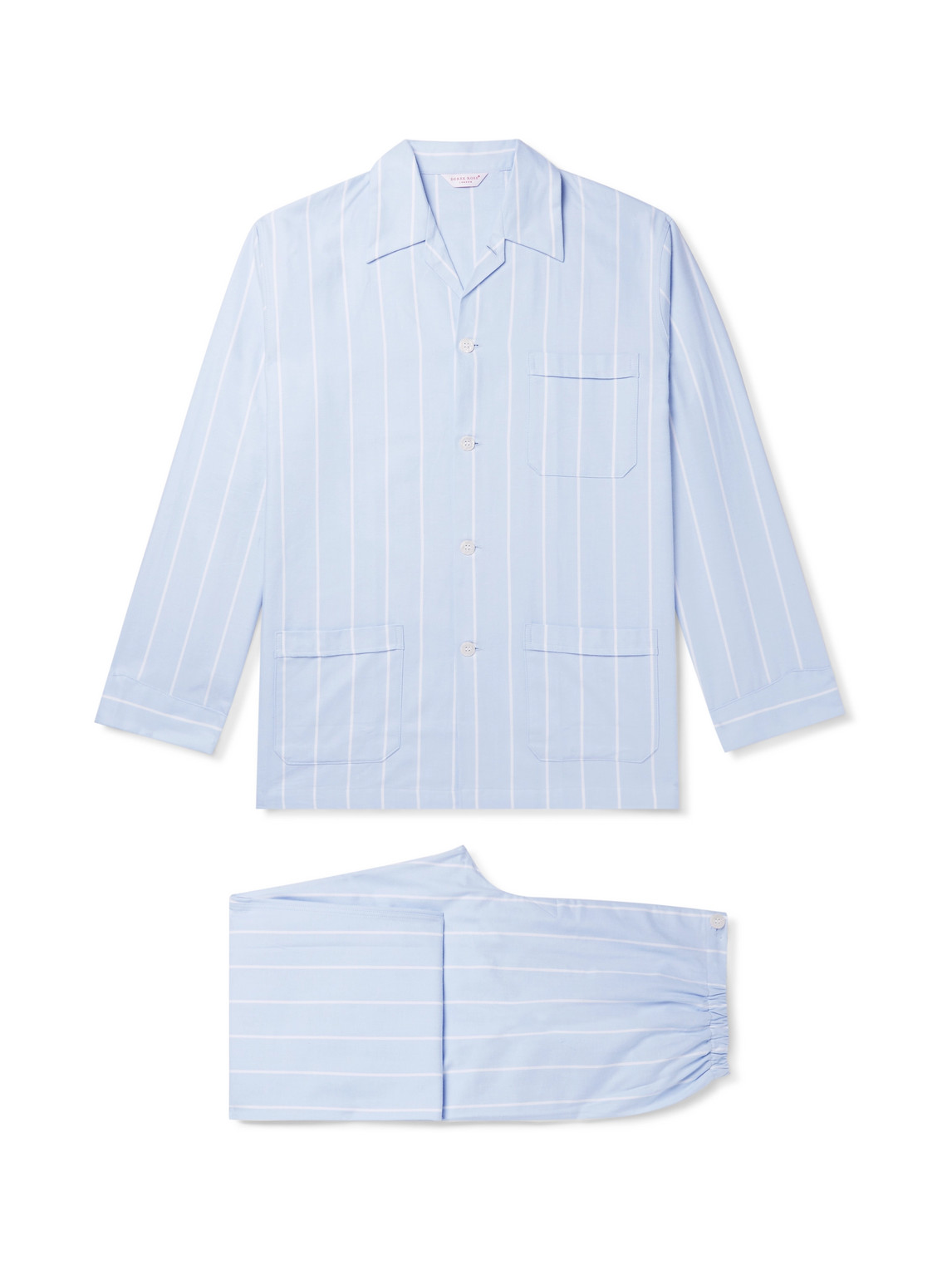 derek rose - striped brushed cotton-twill pyjama set - men - blue - s