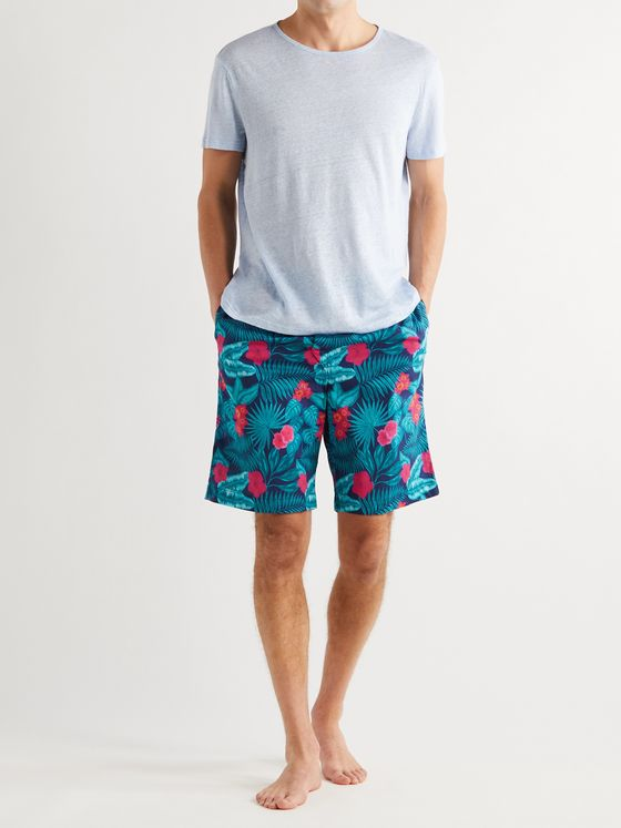 DEREK ROSE Floral-Print Cotton-Voile Pyjama Shorts