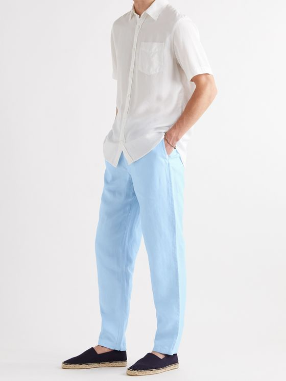 DEREK ROSE Sydney Linen Drawstring Trousers