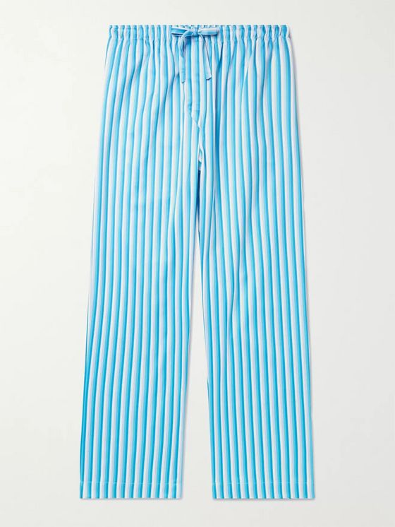 DEREK ROSE Striped Cotton-Poplin Pyjama Trousers