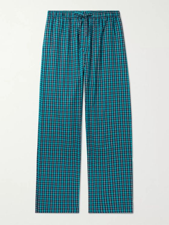 DEREK ROSE Checked Brushed Cotton-Twill Pyjama Trousers