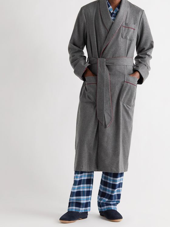 DEREK ROSE Duke Piped Cashmere Robe
