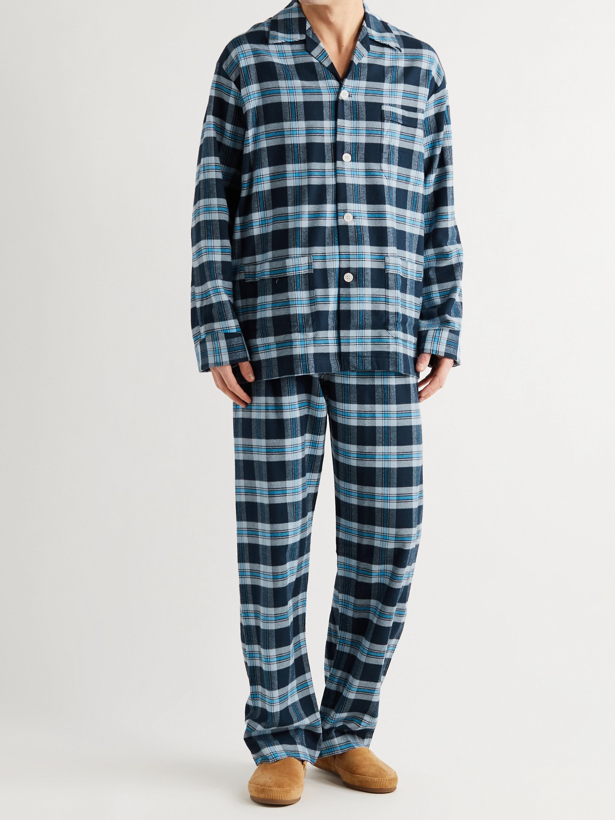 DEREK ROSE Checked Kelburn Brushed Cotton-Flannel Pyjama Set
