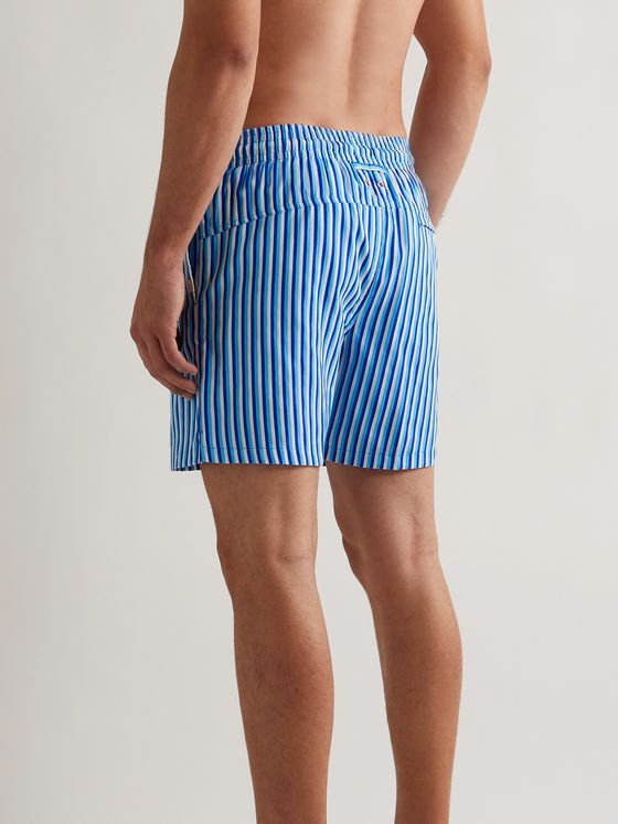 DEREK ROSE Mid-Length Striped Swim Shorts