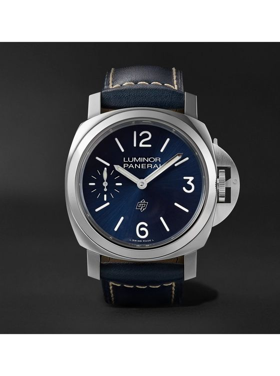 Panerai Luminor Blu Mare Hand-Wound 44mm Stainless Steel and Leather Watch, Ref. No. PAM01085