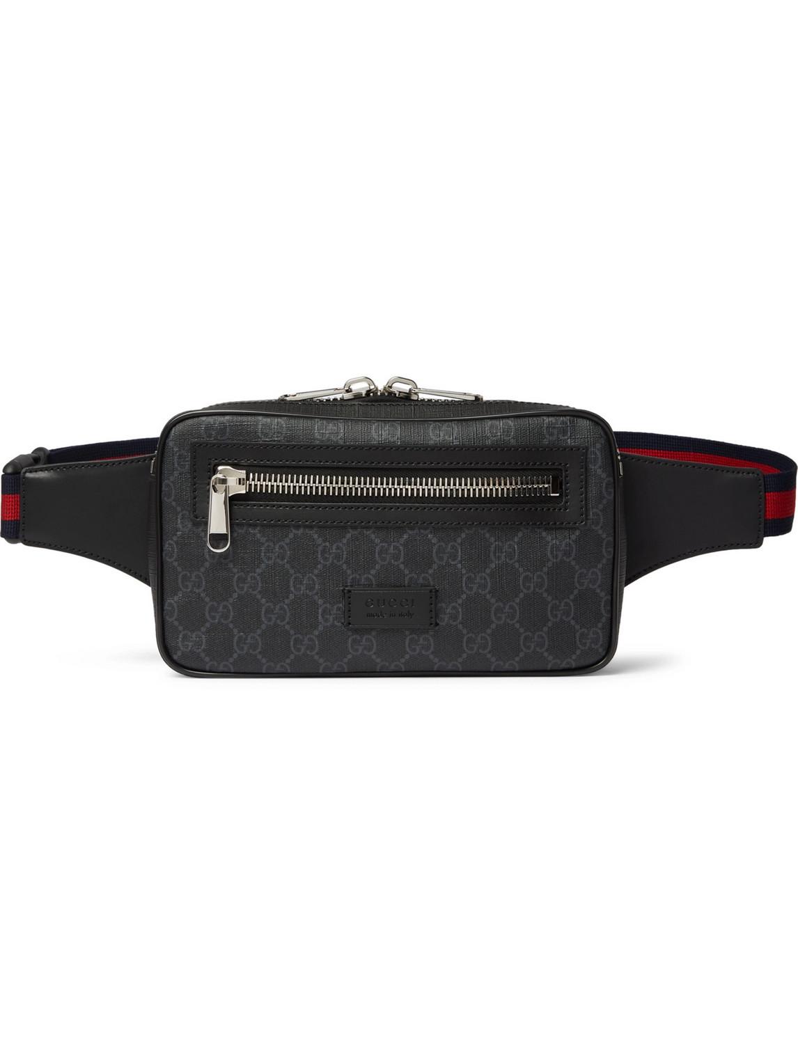 Gucci - Leather-Trimmed Monogrammed Coated-Canvas Belt Bag - Men - Black