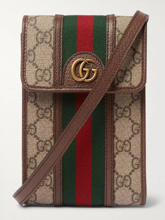 GUCCI Ophidia Grosgrain and Leather-Trimmed Monogrammed Coated-Canvas Messenger Bag
