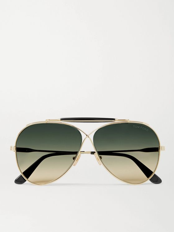 TOM FORD Holden Aviator-Style Gold-Tone and Acetate Sunglasses