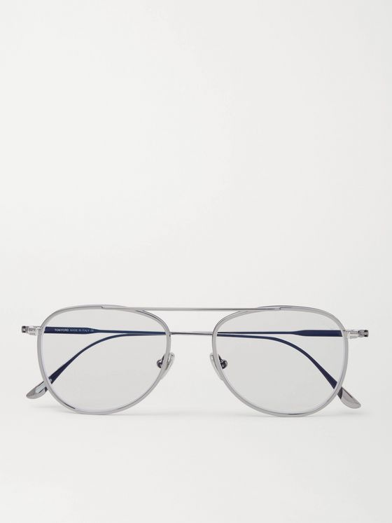 TOM FORD Aviator-Style Silver-Tone Optical Glasses