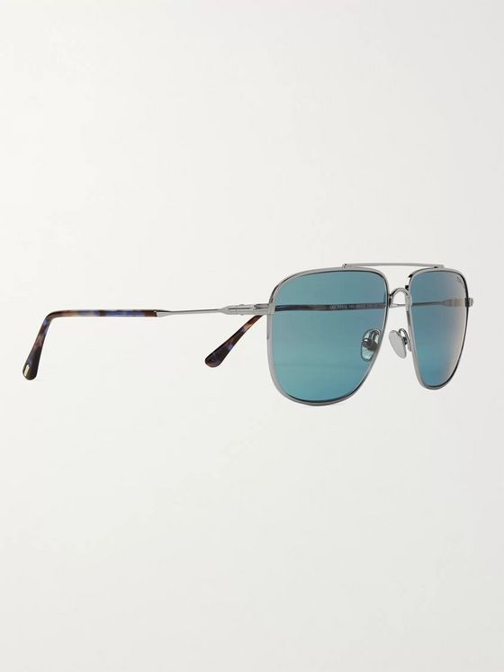 TOM FORD Aviator-Style Silver-Tone and Acetate Sunglasses