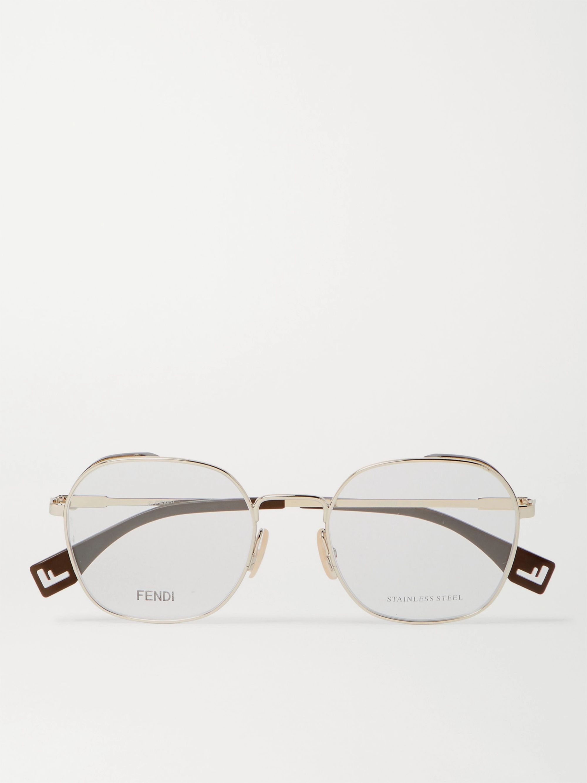 Fendi Round-Frame Gold-Tone and Acetate Optical Glasses