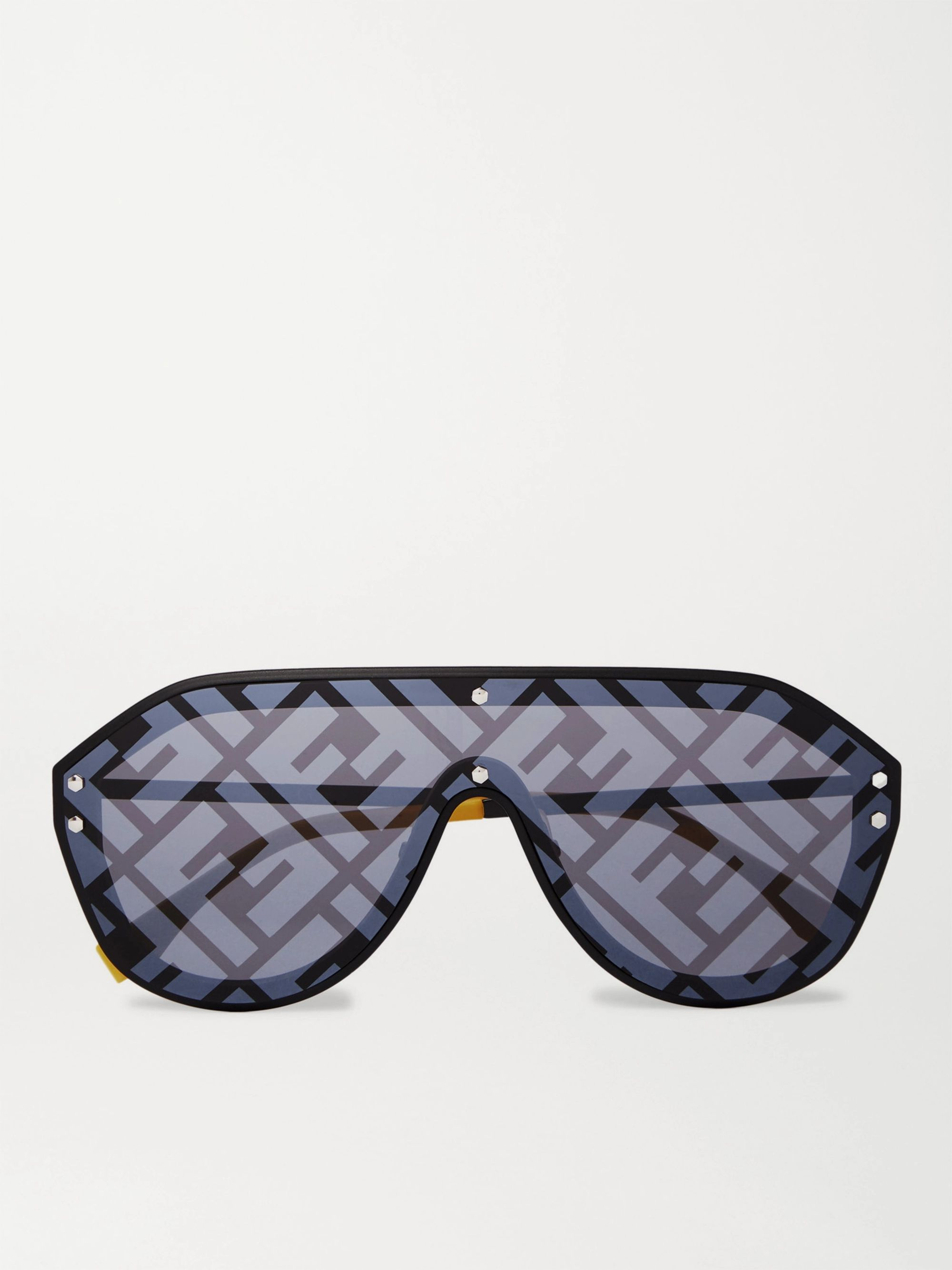 Fendi Logo-Print Aviator-Style Acetate and Metal Sunglasses