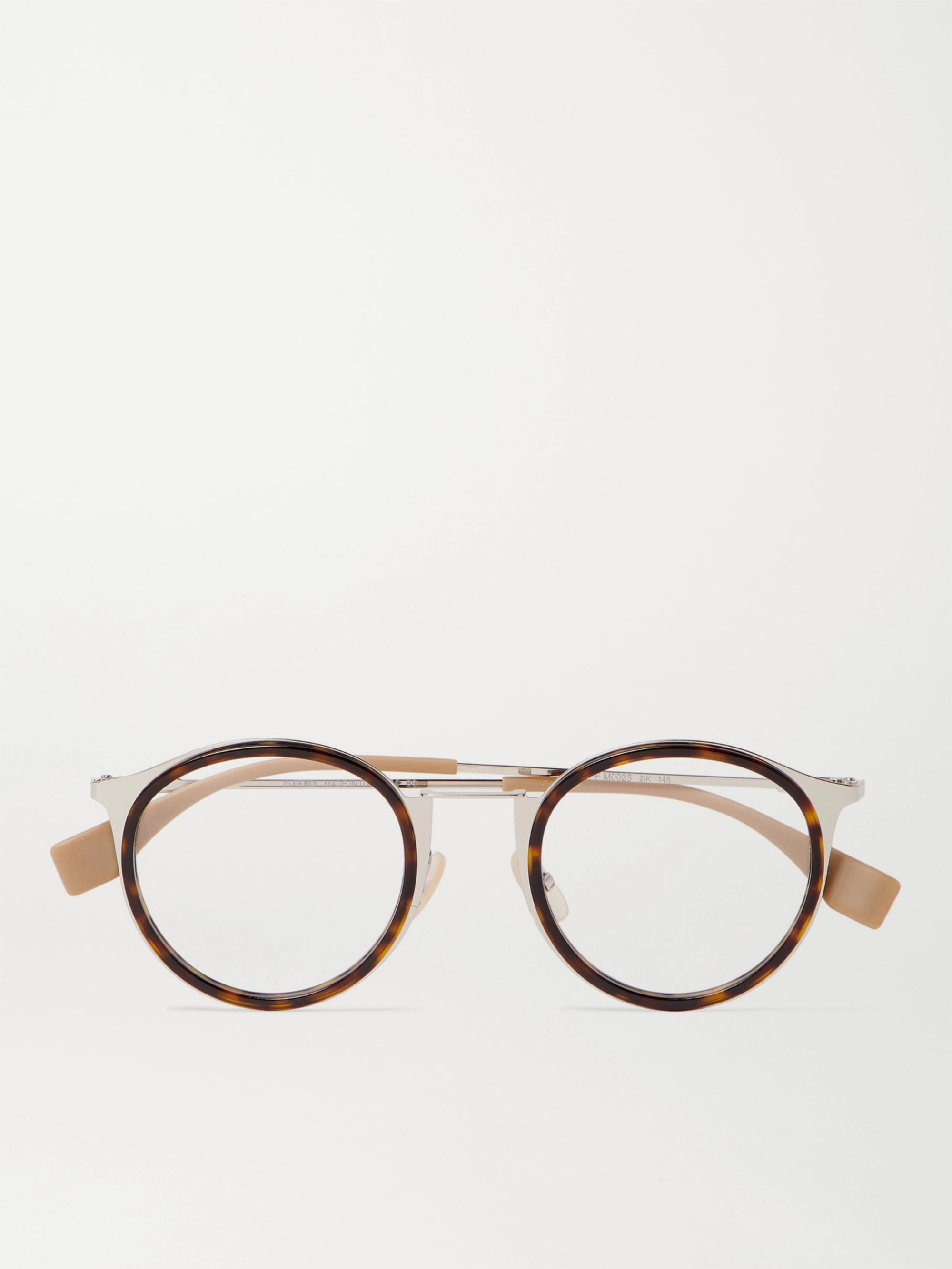 Fendi Round-Frame Tortoiseshell Acetate and Silver-Tone Optical Glasses