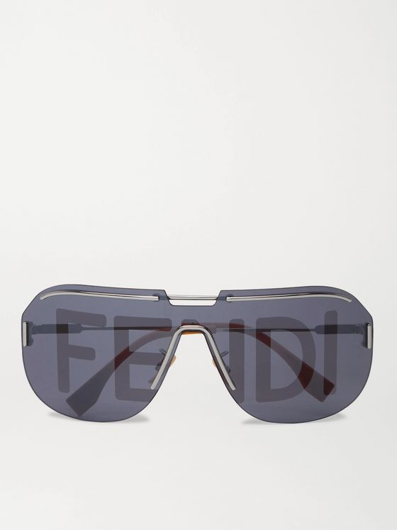 FENDI D-Frame Logo-Print Acetate and Silver-Tone Sunglasses