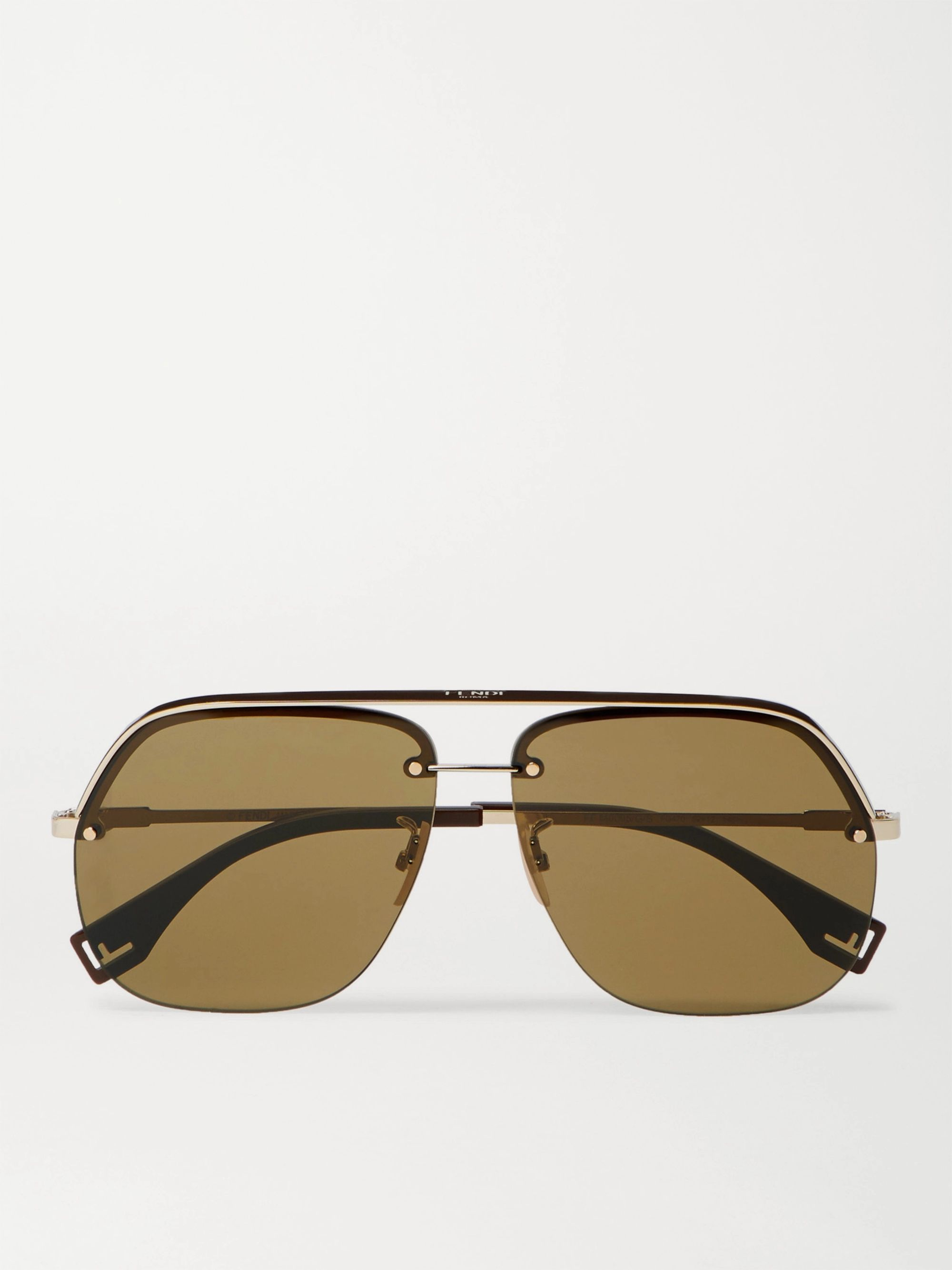 Fendi Aviator-Style Gold-Tone and Acetate Sunglasses