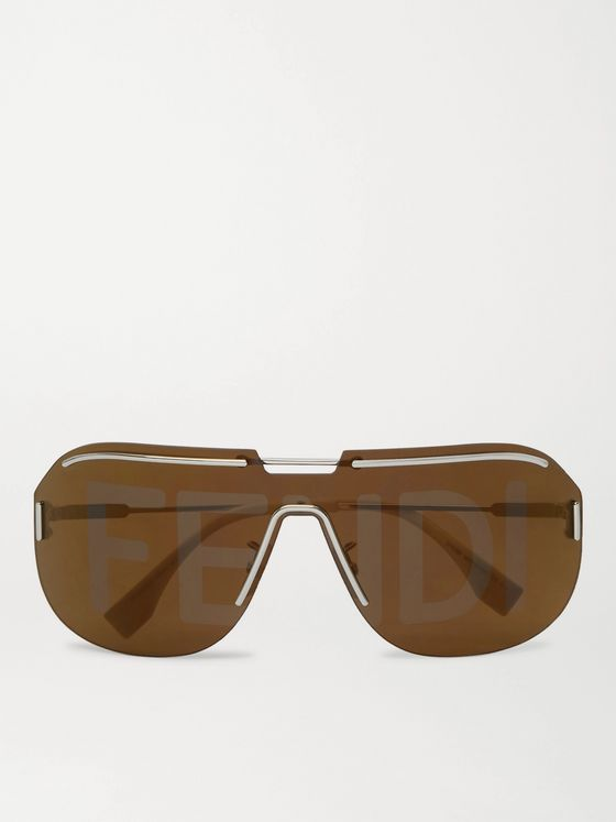 FENDI D-Frame Logo-Print Acetate and Gold-Tone Sunglasses
