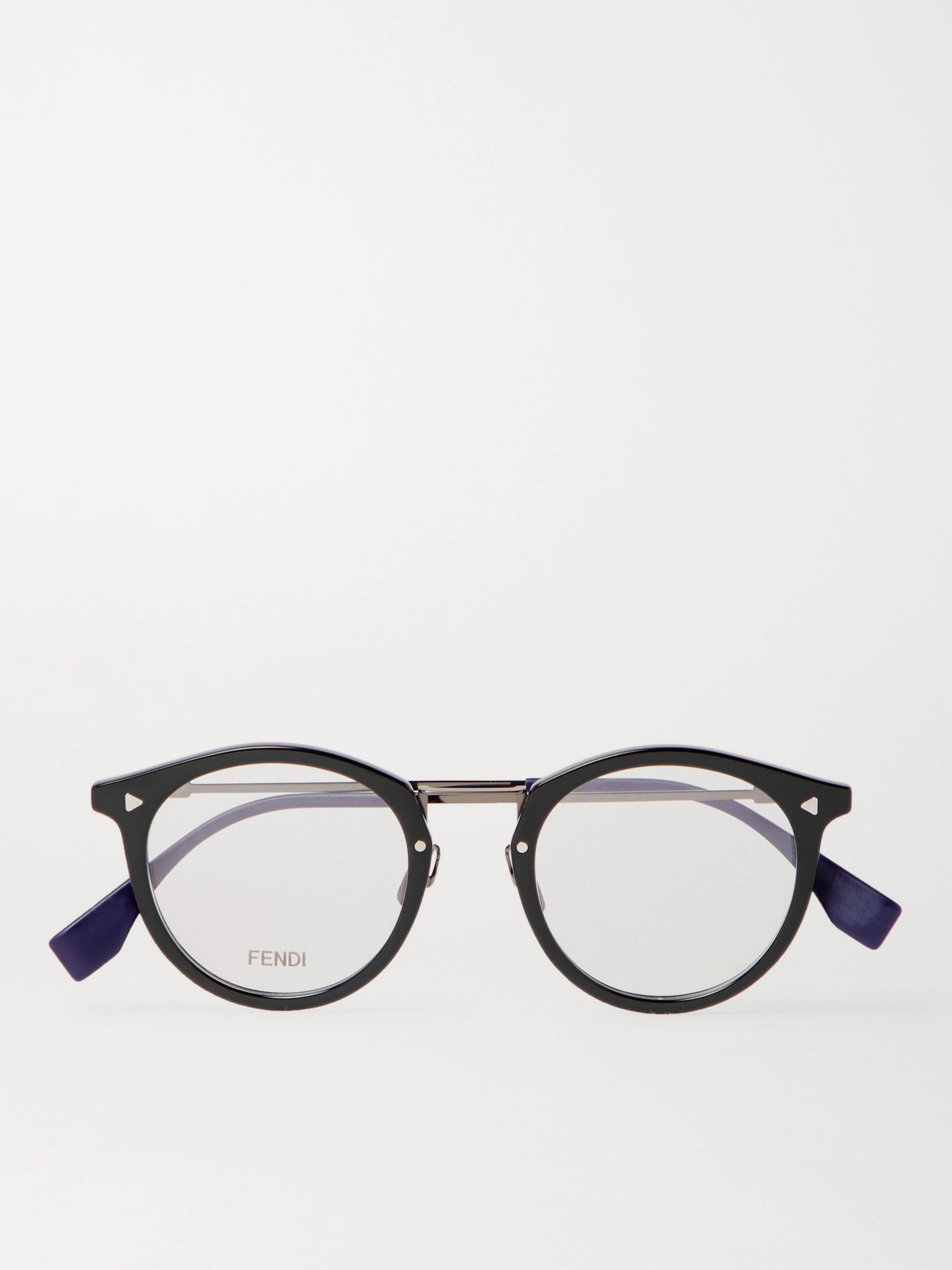 Fendi Round-Frame Acetate and Silver-Tone Optical Glasses