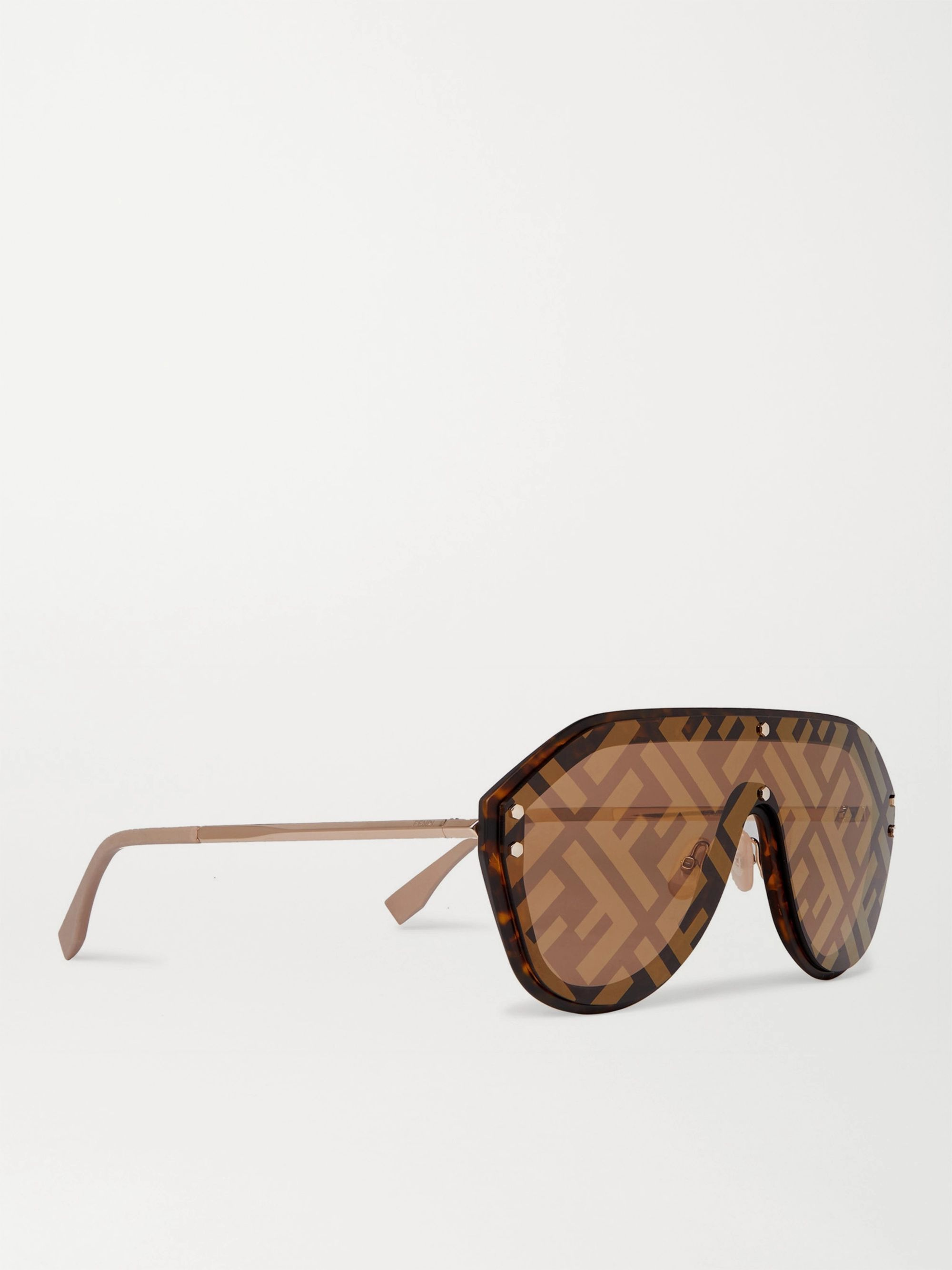 FENDI Logo-Print Aviator-Style Acetate and Gold-Tone Sunglasses