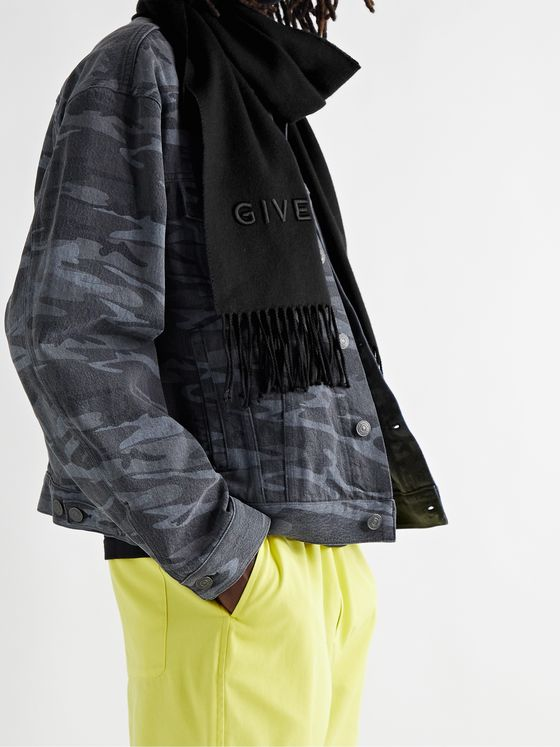 GIVENCHY Logo-Embroidered Fringed Wool-Twill Scarf