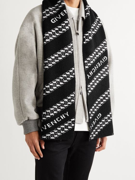 GIVENCHY Logo-Jacquard Wool-Blend Scarf