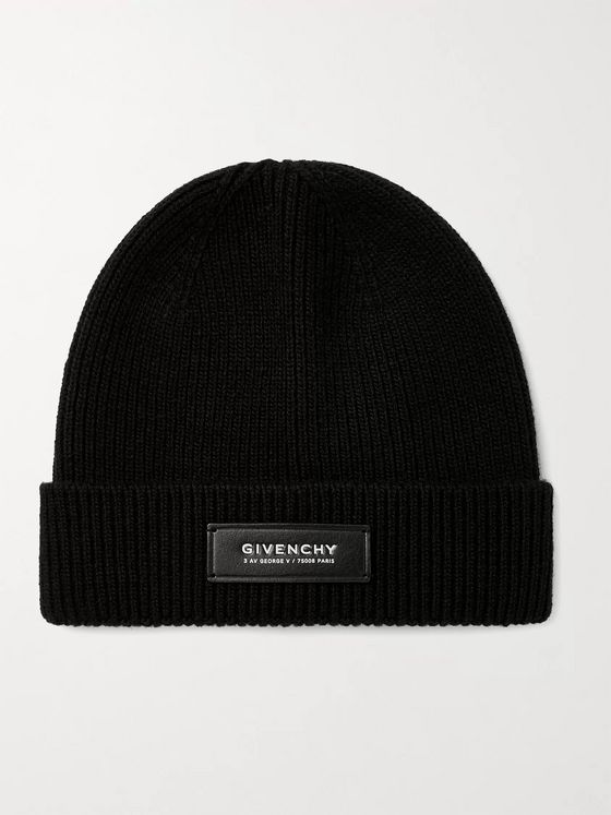 GIVENCHY Leather-Trimmed Wool and Cashmere-Blend Beanie