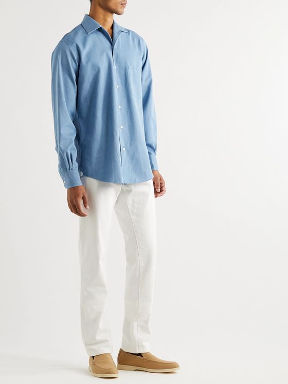 LORO PIANA Camp-Collar Denim Shirt
