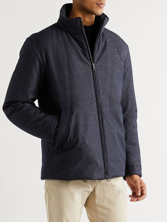 LORO PIANA Storm System Virgin Wool-Blend Denim Bomber Jacket