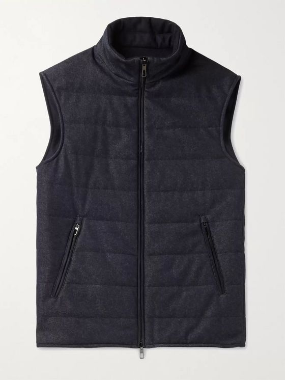 LORO PIANA Reversible Storm System Quilted Virgin Wool-Blend Denim and Cashmere Gilet
