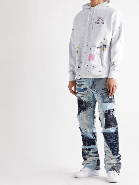 GALLERY DEPT. Paint-Splattered Logo-Print Fleece-Back Cotton-Blend Jersey Hoodie