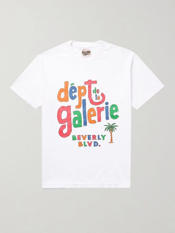 Gallery Dept. Distressed Logo-Print Cotton-Jersey T-Shirt