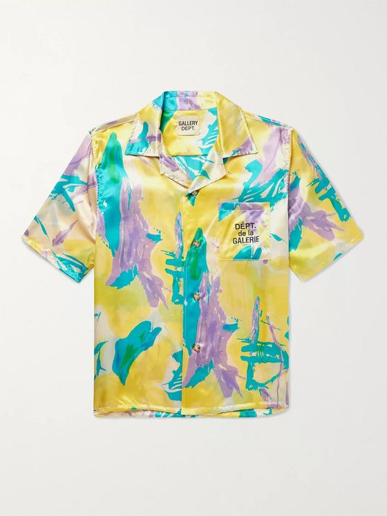 Gallery Dept. Parker Camp-Collar Logo-Embroidered Printed Silk-Satin Shirt