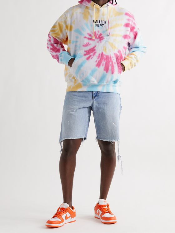 Gallery Dept. Marina Distressed Logo-Print Tie-Dyed Cotton-Blend Jersey Hoodie
