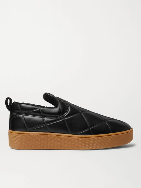 BOTTEGA VENETA Debossed Leather Slip-On Sneakers