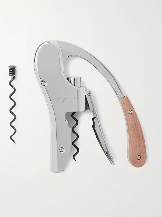 L'Atelier du Vin Oeno Walnut Wood and Chrome Lever Corkscrew