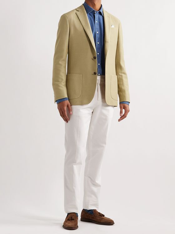 Sid Mashburn Virgil No. 2 Slim-Fit Garment-Dyed Cotton and Wool-Blend Hopsack Blazer