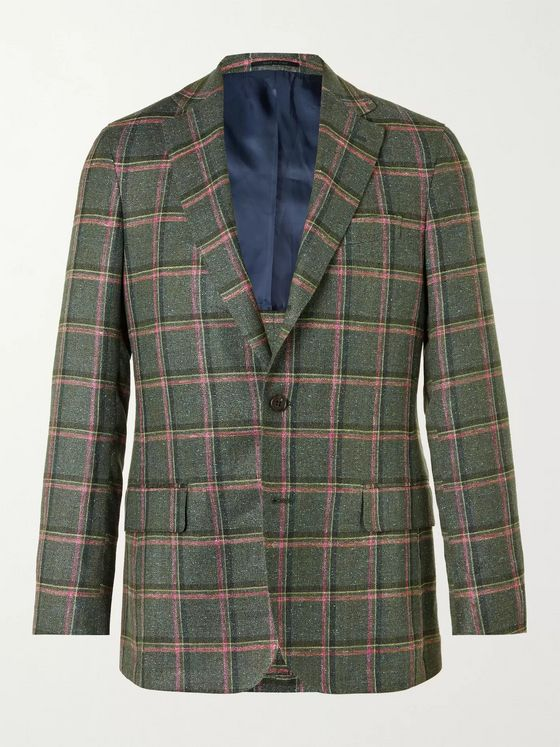Sid Mashburn Checked Silk, Linen and Wool-Blend Blazer