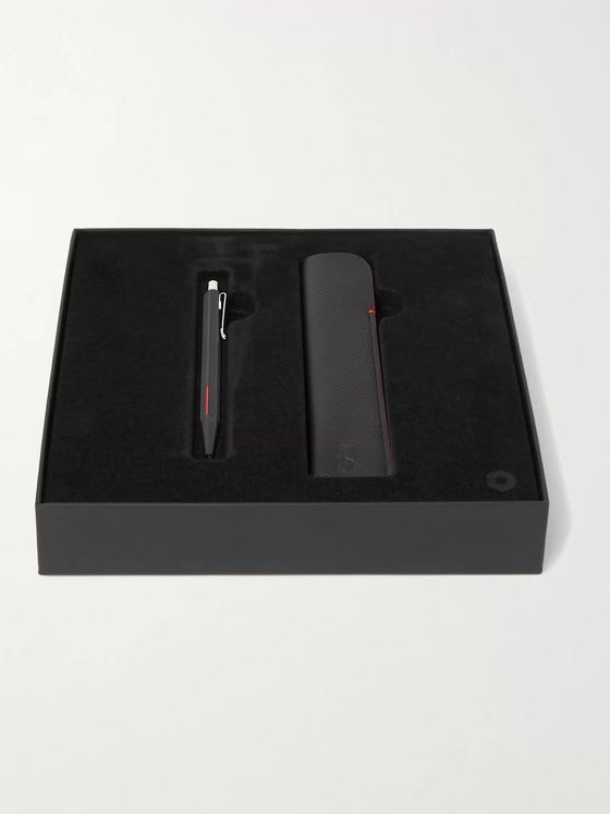 Caran d'Ache Ecridor Racing Ballpoint Pen and Full-Grain Leather Case Set