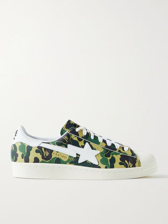 ADIDAS CONSORTIUM + BAPE Superstar 80s Camouflage-Print Leather Sneakers