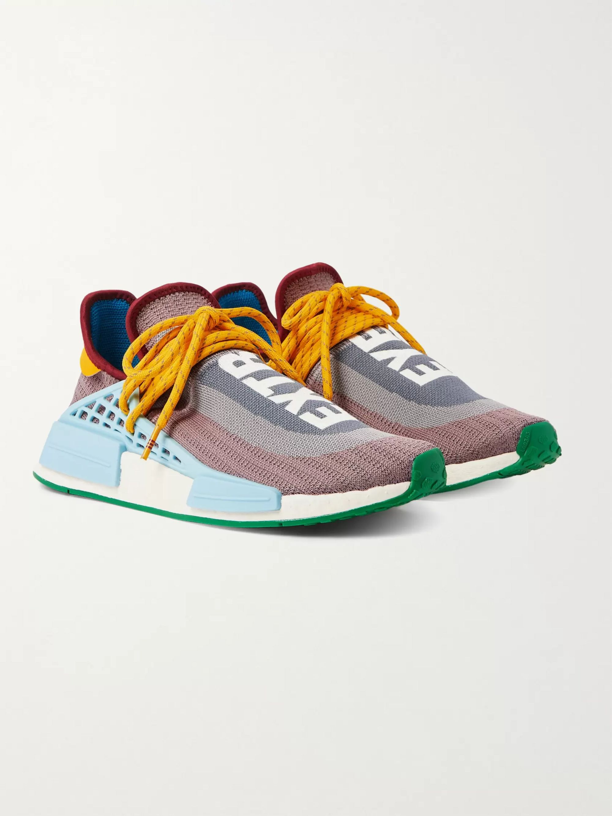 + Pharrell Williams NMD Hu Leather and Rubber Trimmed Primeknit Slip On Sneakers