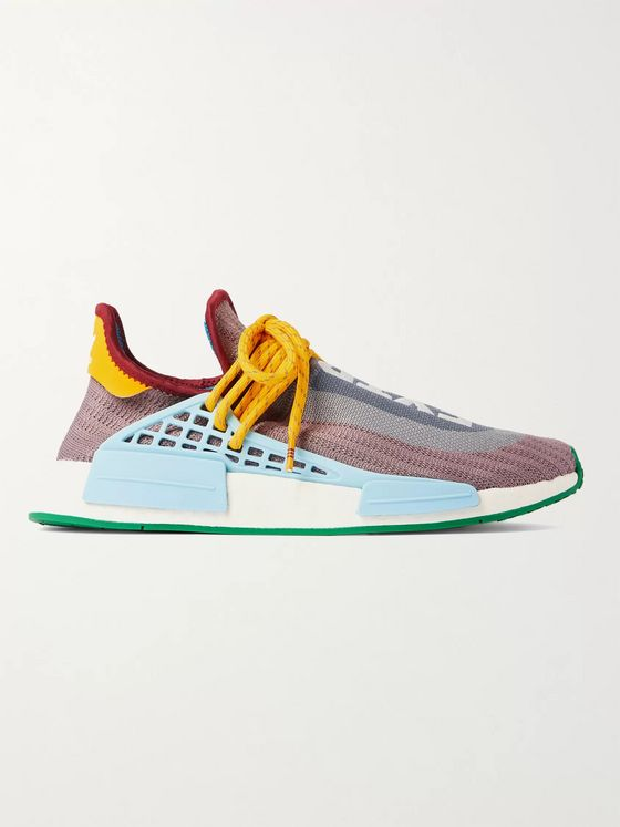 adidas Consortium + Pharrell Williams NMD Hu Leather and Rubber-Trimmed Primeknit Slip-On Sneakers