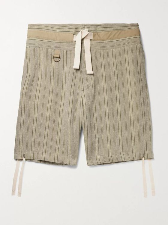 NICHOLAS DALEY Wide-Leg Striped Waxed-Linen Drawstring Shorts
